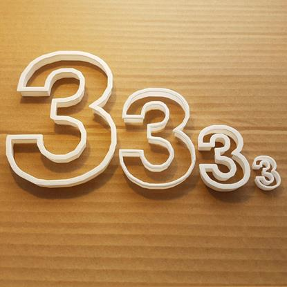 Picture of Three 3 Number Digit Shape Cookie Cutter Dough Biscuit Pastry Fondant Sharp
