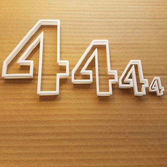 Picture of Four 4 Number Digit Shape Cookie Cutter Dough Biscuit Pastry Fondant Sharp