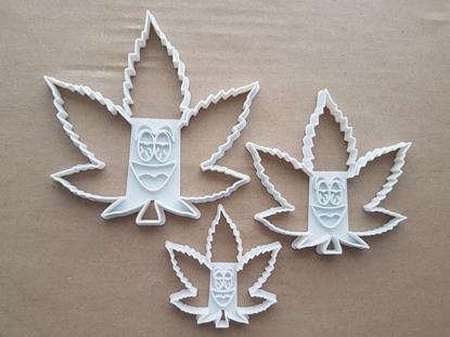 Cannabis Leaf Ganja High Shape Cookie Cutter Dough Biscuit Pastry Fondant Sharp Stencil Marijuana Medicinal Plant 420 Cartoon Face