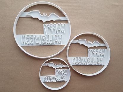 Happy Halloween Bat Spooky Shape Cookie Cutter Dough Biscuit Pastry Fondant Sharp Stencil Scary