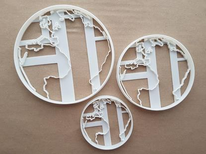 Planet  Earth World Globe Shape Cookie Cutter Dough Biscuit Pastry Fondant Sharp Stencil Countries Outline.
