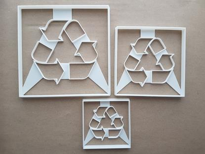 Recycle Sign Symbol Waste Shape Cookie Cutter Dough Biscuit Pastry Fondant Sharp Stencil Recycling Rubbish Trash Icon Bin Garbage