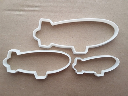 Blimp Airship Zeppelin Shape Cookie Cutter Dough Biscuit Pastry Fondant Sharp Stencil Air Vehicle Ship