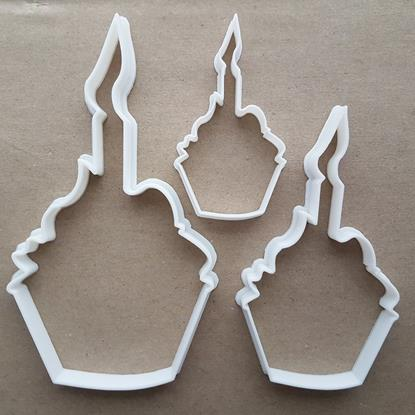 Birthday Cake Cup Candle Shape Cookie Cutter Dough Biscuit Pastry Fondant Sharp Stencil Muffin Food Cupcake Fairy Flame