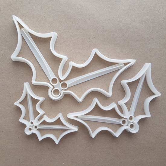 Holly Leaf Berry Xmas Shape Cookie Cutter Dough Biscuit Pastry Fondant Sharp Stencil Plant Christmas Spiky Plant