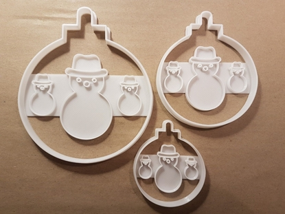 Bauble Snowman Christmas Shape Cookie Cutter Dough Biscuit Pastry Fondant Stamp Stencil Sharp Xmas Decoration