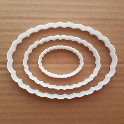Oval Mirror Plaque Frame Plate Shape Cookie Cutter Dough Biscuit Pastry Stencil Sharp Fondant Name Prize Scalloped Edge