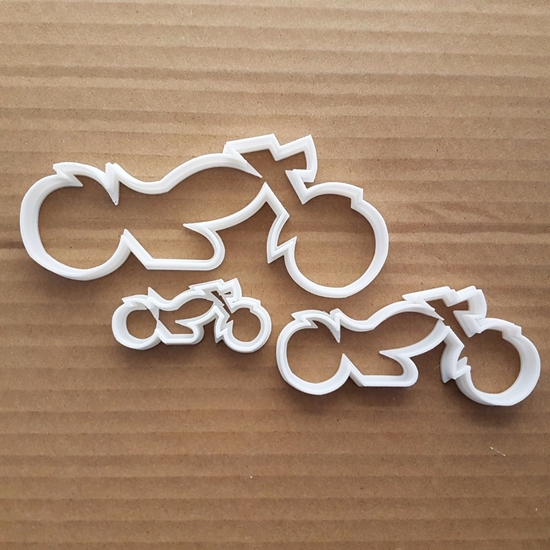 Motorbike Motorcycle Tour Shape Cookie Cutter Dough Biscuit Pastry Fondant Sharp Stencil Harley Davidson Biker Racing Vehicle Motor Bike
