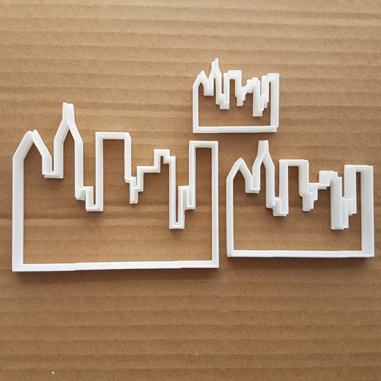 Picture of City Skyline Building Shape Cookie Cutter Dough Biscuit Skyscraper Pastry Fondant Sharp Stencil Town Sky Line