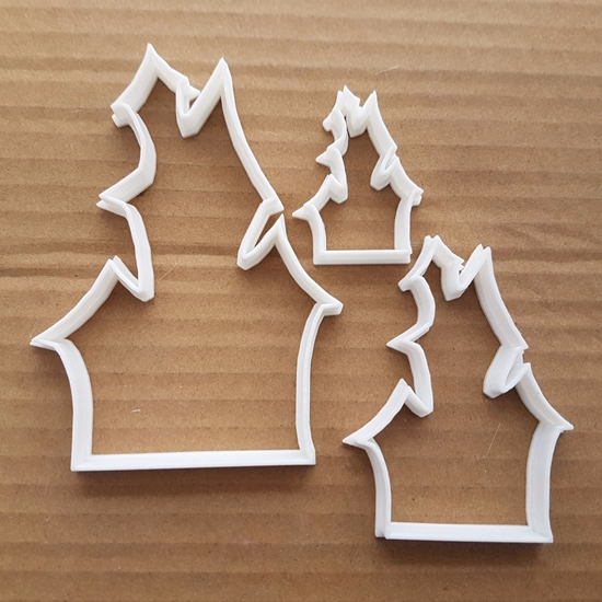 Haunted House Scary Ghost Shape Cookie Cutter Dough Biscuit Pastry Fondant Sharp Stencil Halloween Shack Spooky Creepy