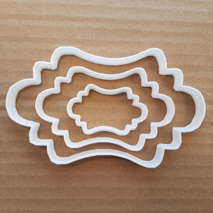 Plaque Mirror Plate Panel Shape Cookie Cutter Dough Biscuit Pastry Stencil Sharp Name Frame Award Prize Fondant