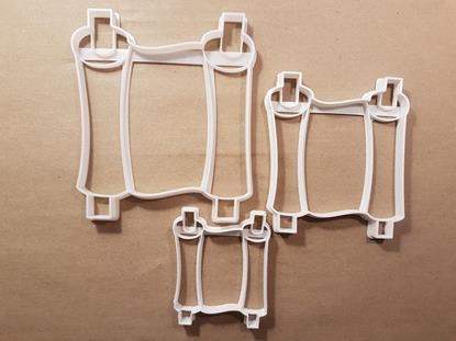 Scroll Text Treaty Story Shape Cookie Cutter Dough Biscuit Pastry Fondant Stamp Stencil Sharp Parchment Map